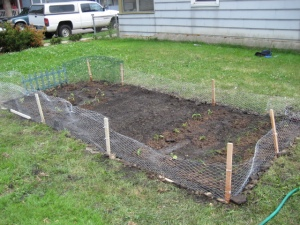 Our beautiful masterpiece--now waiting for things to grow!