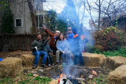 "Enjoying a bonfire at one of our ""yard shares"""