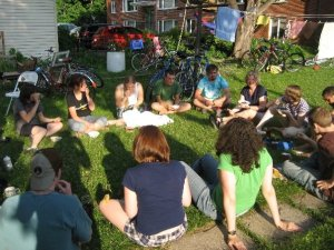 Solutionaries gathering at a weekly potluck during SoS 2008, Twin Cities